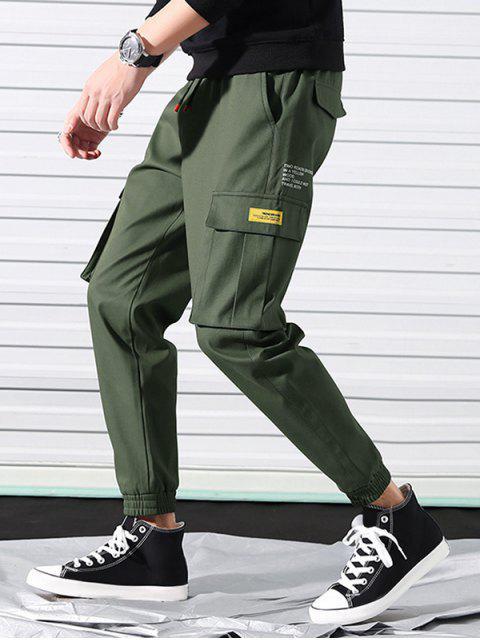 outfits Letter Print Applique Drawstring Cargo Jogger Pants - HAZEL GREEN M Mobile