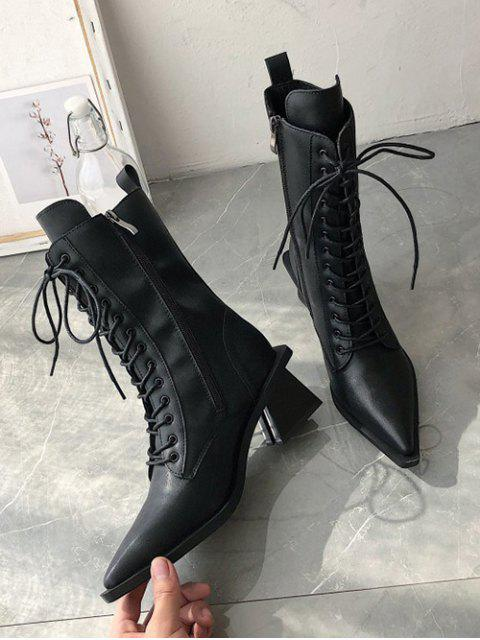 outfit Slim Pointed Toe Lace Up Mid Calf Boots - BLACK EU 36 Mobile