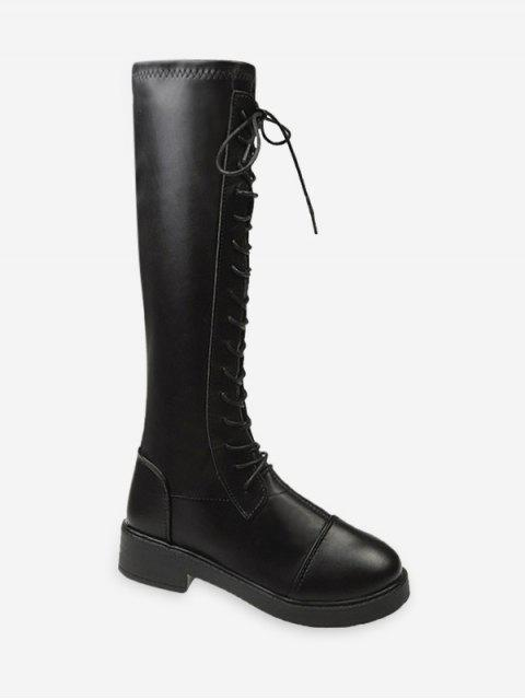 chic Lace Up Knight Knee High Boots - BLACK EU 38 Mobile