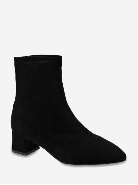 ladies Plain Slim Pointed Toe Suede Ankle Boots - BLACK EU 35 Mobile