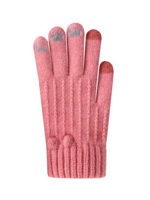 Одноцветный принт Зимние Велосипедные Перчатки - Розовый  Mobile