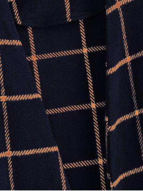 ZAFUL Manteau Long Ouvert en Avant à Carreaux avec Poche - Bleu L Mobile