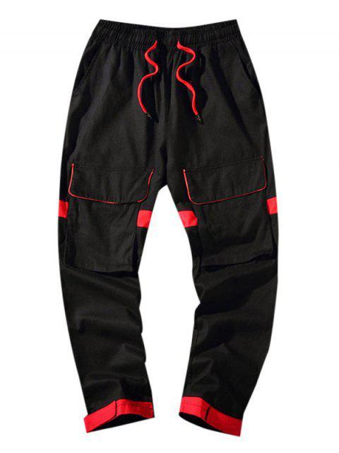 口袋裝飾Colorblock休閒褲 - 黑色 2XL Mobile