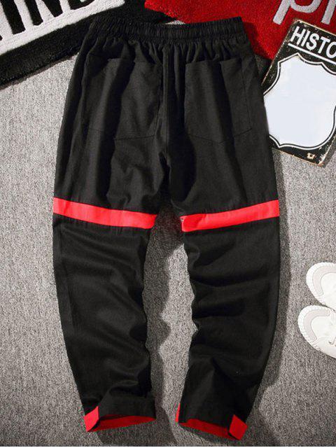 口袋裝飾Colorblock休閒褲 - 黑色 4XL Mobile