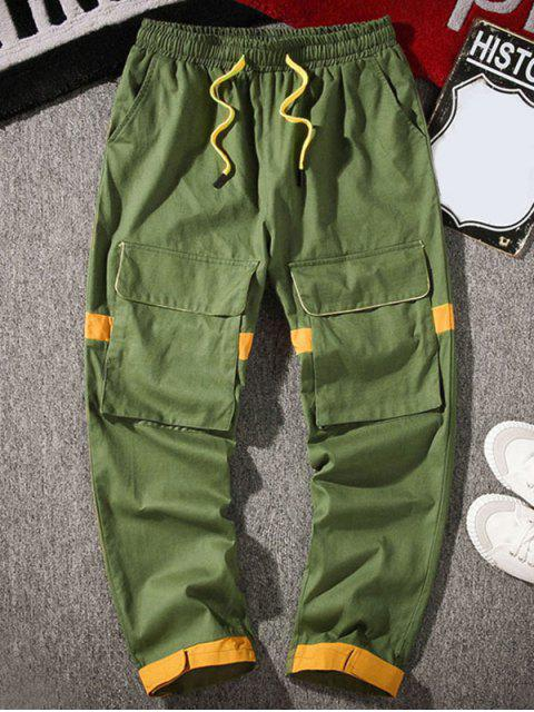 women's Pocket Decoration Colorblock Casual Pants - ARMY GREEN XL Mobile