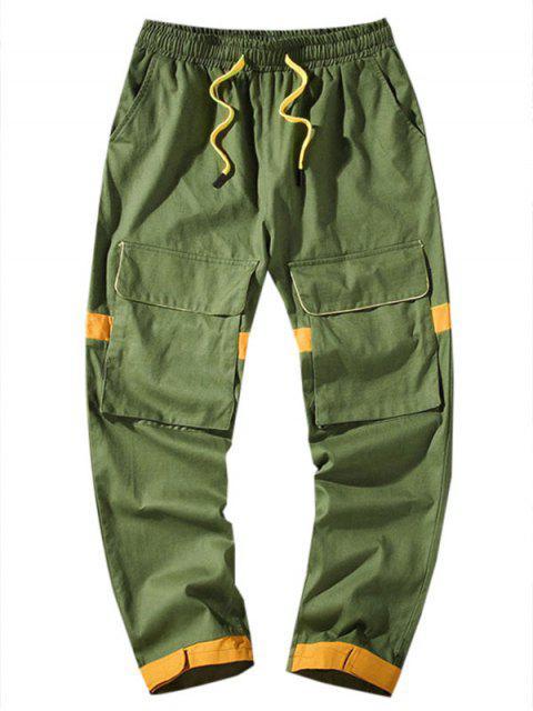 口袋裝飾Colorblock休閒褲 - 軍綠色 4XL Mobile