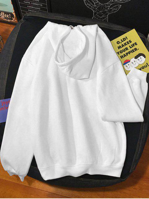 圖文印刷袋鼠口袋連帽衫 - 白色 M Mobile