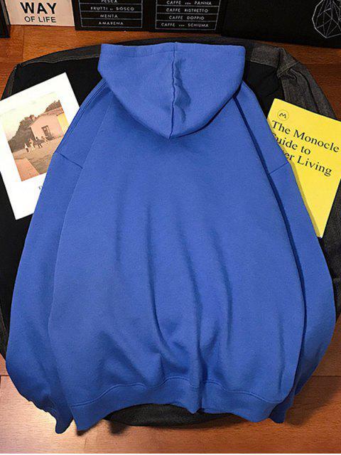 圖文印刷袋鼠口袋連帽衫 - 鈷藍色 3XL Mobile