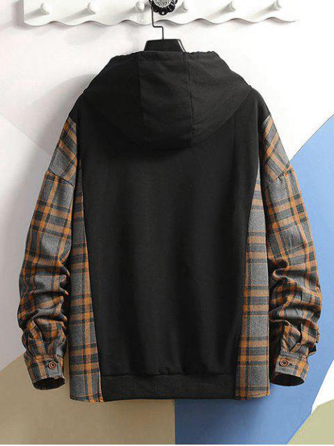 Farbblock Kariertes Spleißen Buchstabedruck Lässiges Hoodie mit Tunnelzug - Grau XL Mobile