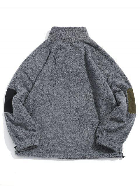 Chinesische Flauschige Jacke mit Buchstabe Stickerei - Grau 2XL Mobile