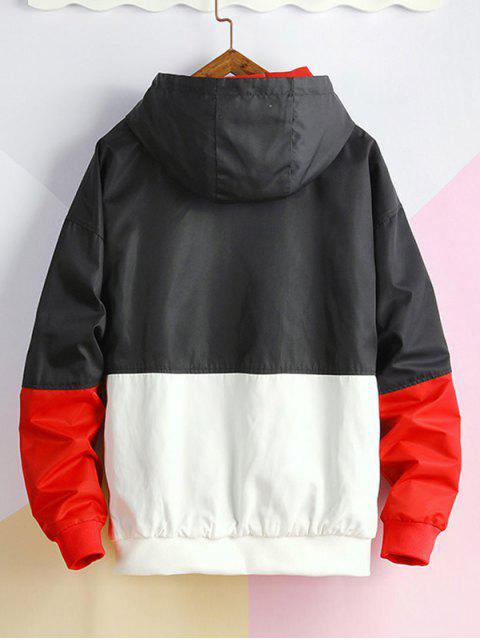 色塊面板休閒連帽外套 - 黑色 4XL Mobile