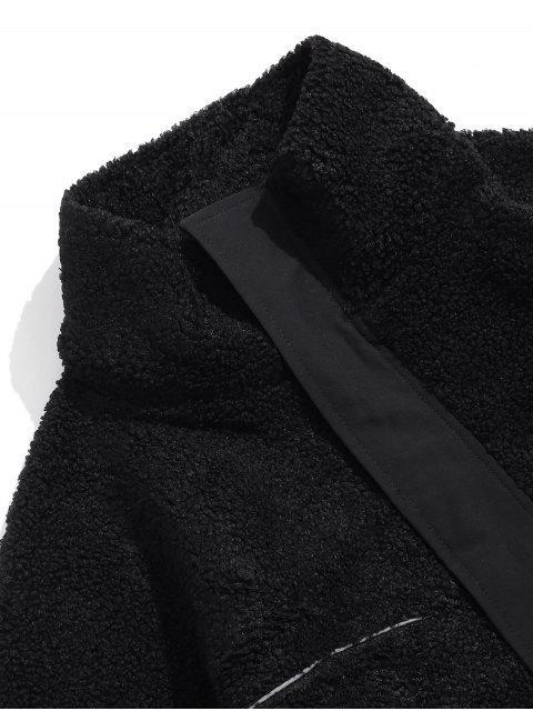 信繡花口袋蓬鬆夾克 - 黑色 XL Mobile