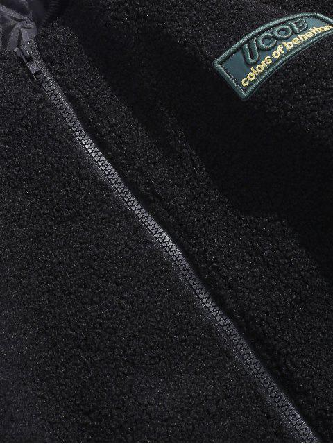 Chaqueta bordada carta mullido acolchado - Negro M Mobile