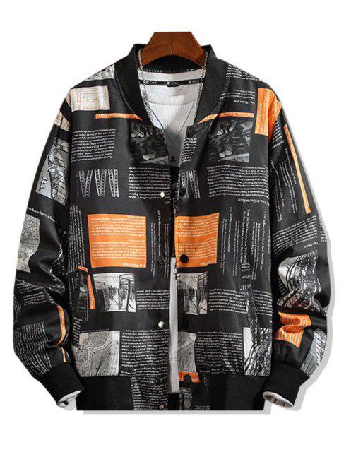 信圖形打印立領休閒夾克 - 黑色 XL Mobile