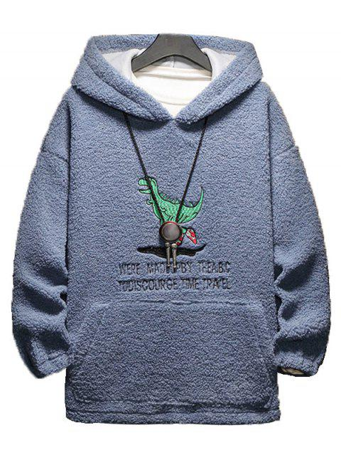 卡通字母刺繡蓬鬆夾克 - 板岩藍色 XL Mobile