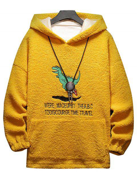 卡通字母刺繡蓬鬆夾克 - 黃色 3XL Mobile