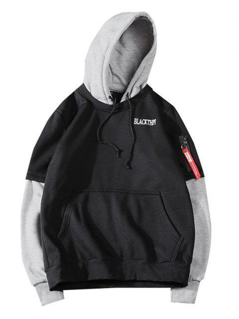 Letra de la impresión en color de bloqueo Faux Twinset Fleece con capucha - Negro  S Mobile