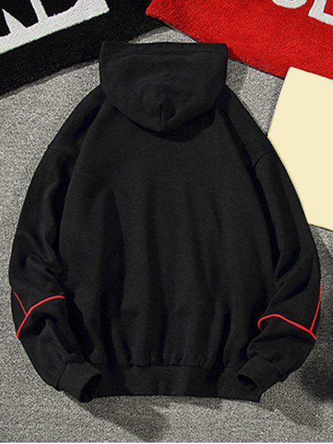 對比條紋抽繩休閒帽衫 - 黑色 XL Mobile