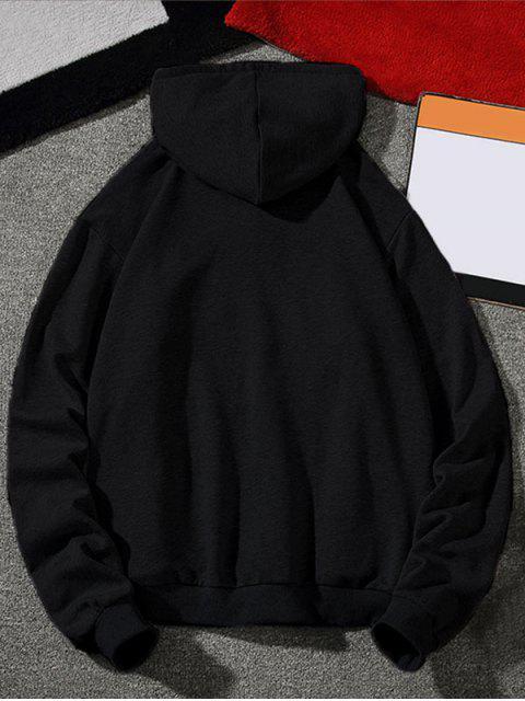 Casual Hoodie mit Buchstabe Druck und Kordelzug - Schwarz 3XL Mobile