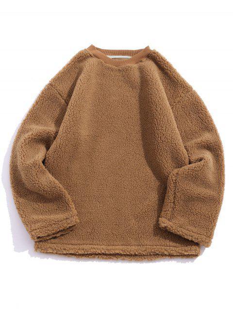 休閒純色套頭衫蓬鬆 - 棕色 XL Mobile