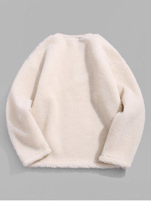 休閒純色套頭衫蓬鬆 - 暖白色 XL Mobile