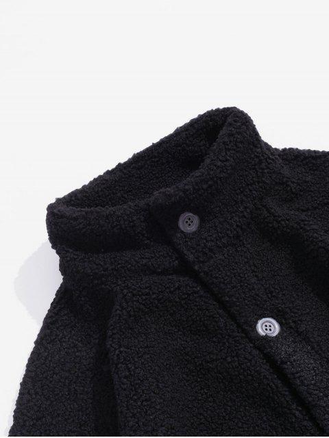 信口袋裝飾的休閒外套蓬鬆 - 黑色 L Mobile