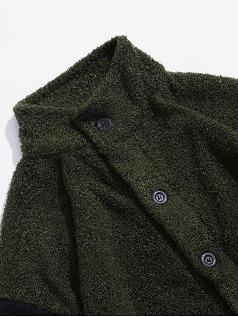 Buchstabe Taschen Verzierte Lässige Flauschige Jacke - Armeegrün 2XL Mobile