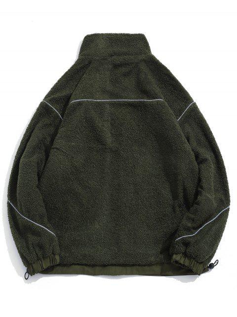 Flauschige Jacke mit Buchstabe und Taschen - Armeegrün M Mobile