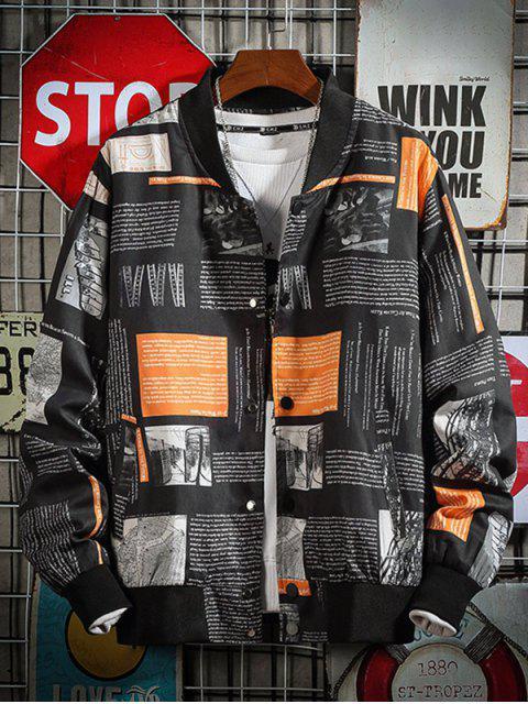 信圖形打印立領休閒夾克 - 黑色 XS Mobile