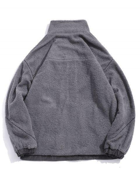 信繡花口袋蓬鬆夾克 - 灰色 M Mobile