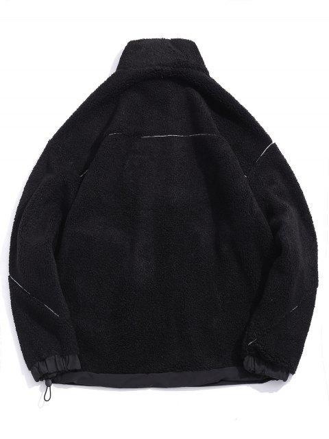 信繡花口袋蓬鬆夾克 - 黑色 M Mobile
