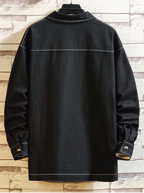 貼花拼接翼口袋休閒外套 - 黑色 2XL Mobile