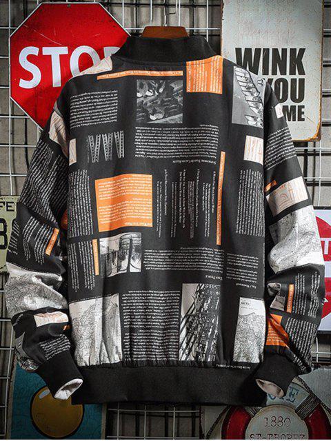 信圖形打印立領休閒夾克 - 黑色 L Mobile