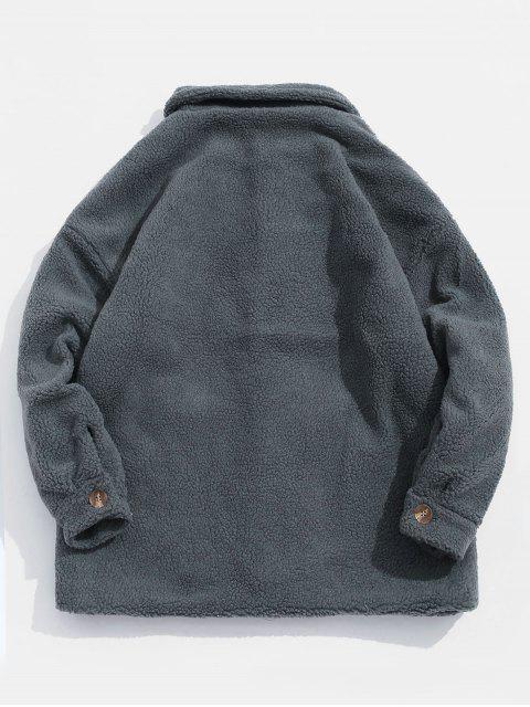 Buchstabe Taschen Verzierte Knopf Flauschige Jacke - Blaugrau 2XL Mobile