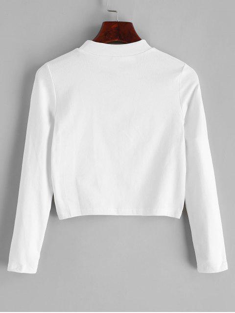 Stehkragen Einfacher Crop T Shirt - Weiß Eine Größe Mobile