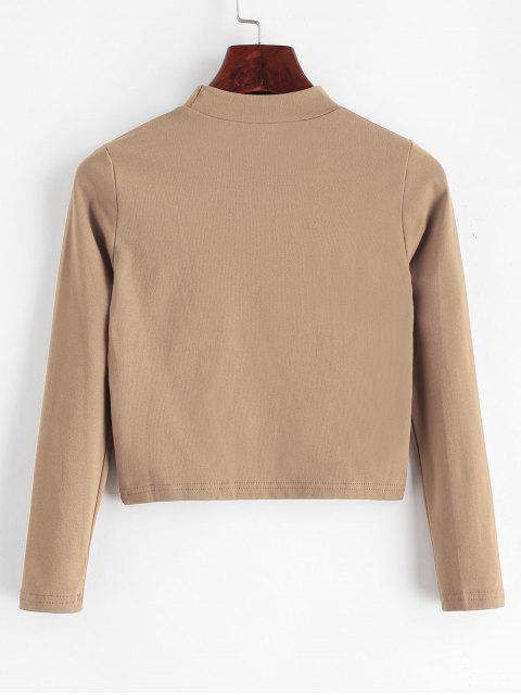 Stehkragen Einfacher Crop T Shirt - Khaki Eine Größe Mobile