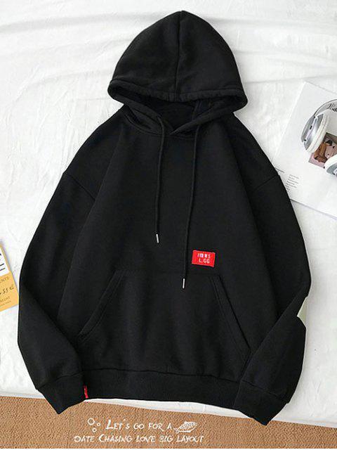 休閒信件模式袋鼠口袋連帽衫 - 黑色 L Mobile