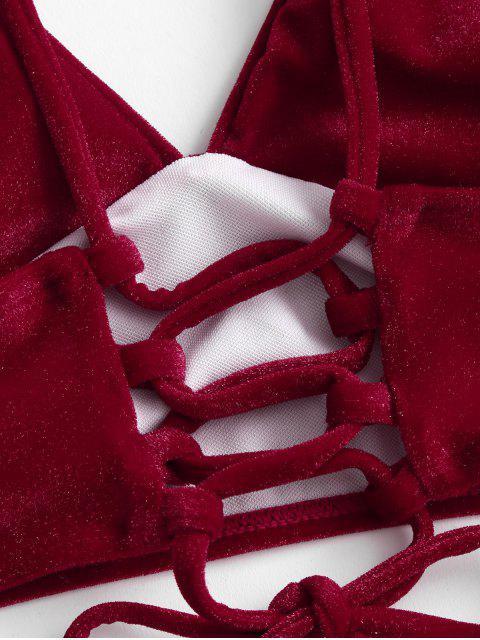 ZAFUL Samt-Bikini-Badeanzug mit Schnürung - Lava Rot L Mobile