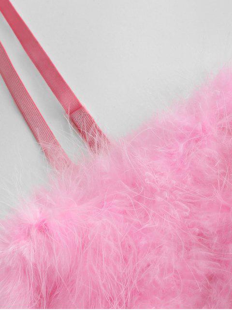 Künstliche Feder Neon Crop Unterhemd - Rosa L Mobile