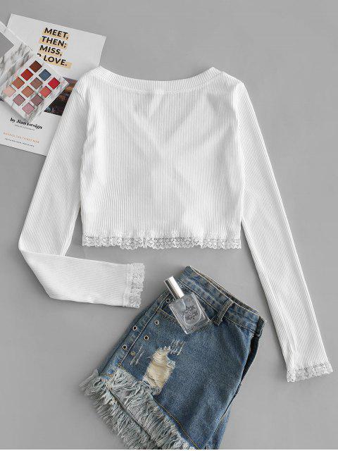 Kreuze und Quere Crop Strickjacke mit Spitzeneinsatz - Weiß M Mobile