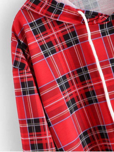 格紋索繩落肩衫 - 紅 L Mobile
