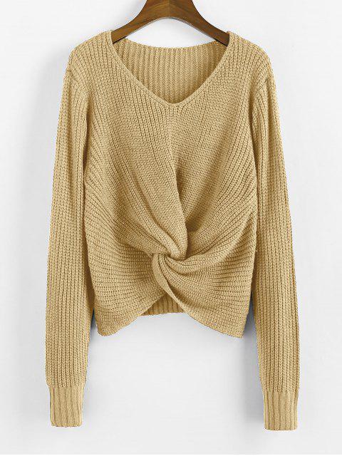 捻V領套頭衫毛衣 - 黃褐色 M Mobile