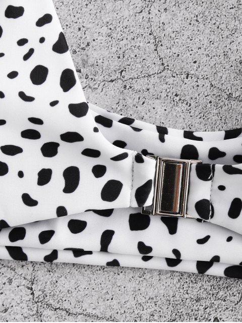 ZAFUL Vorder Schließung Hohes Bein Leopard-Bikini-Badeanzug - Weiß L Mobile