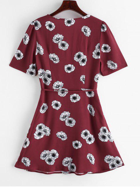 ZAFUL Blumen Chorhemd Overlap Kleid mit Gürtel - Multi S Mobile