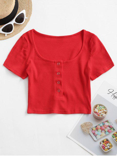 shops Ribbed Snap Button Placket Crop Tee - RED S Mobile