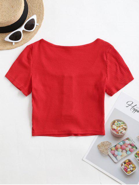 Camiseta Corta con Botón a Presión - Rojo L Mobile