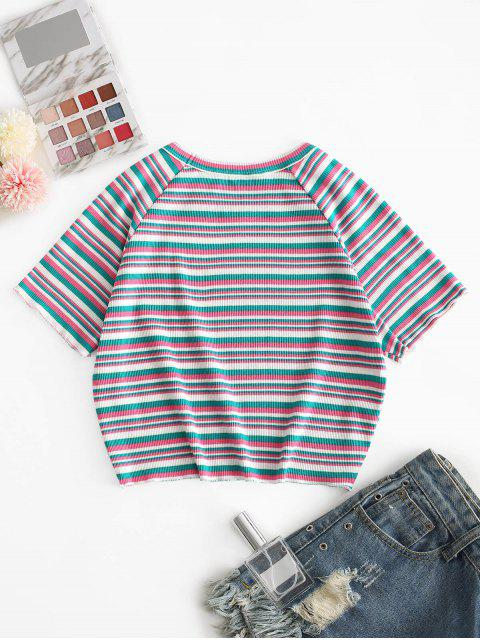 ladies ZAFUL Ribbed Striped Crop Tee - MULTI-A S Mobile