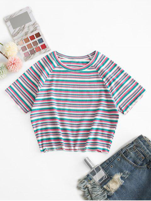 chic ZAFUL Ribbed Striped Crop Tee - MULTI-A M Mobile