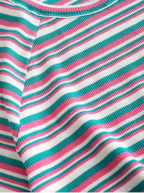 fancy ZAFUL Ribbed Striped Crop Tee - MULTI-A L Mobile