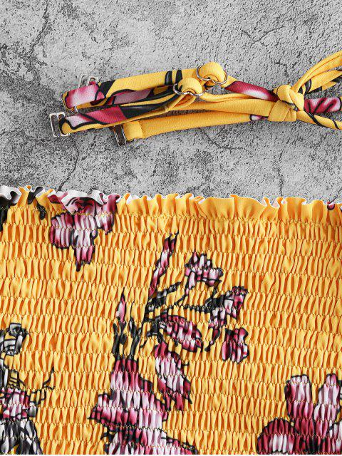 ZAFUL Bikini Floral Bandeau Smocked - Mostaza L Mobile